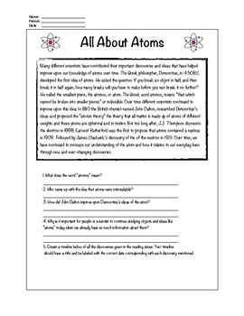 All About Atoms Short Reading
