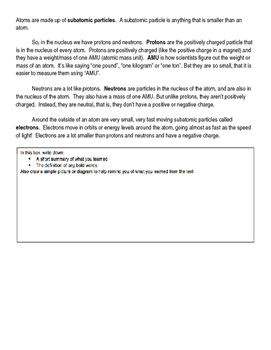 All About Atoms Expert Text and Worksheet
