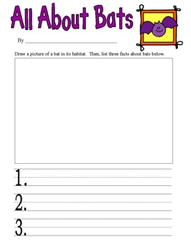 All About Bats- 1st - 2nd Grade Writing Prompt- Common Core Aligned