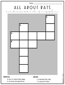 All About Bats Crossword Puzzle