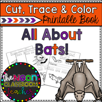All About Bats Cut, Trace and Color Printable Book!