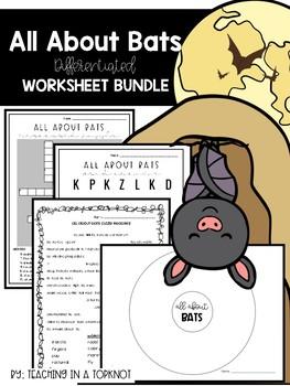 All About Bats Worksheet Bundle