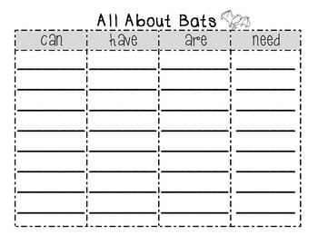 All About Bats {can/have/are/need organizer and writing}
