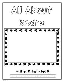 All About Bears Book Template: Kindergarten & First Grade