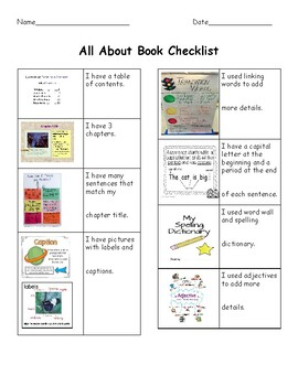 All About Book Rubric