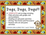 All About Book on Dogs. Nonfiction Writing Unit, CCSS Aligned & Math Fun