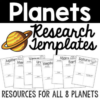 All About Planets Writing Research Templates