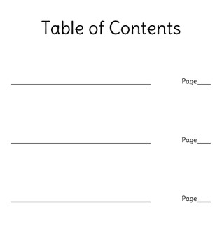 All About Books, Informational Writing - Table of Contents & Glossary