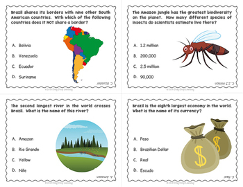 Brazil for Kids: 32 Illustrated Flashcards