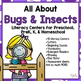 All About Bugs & Insects Literacy Centers for Preschool, PreK, K & Homeschool