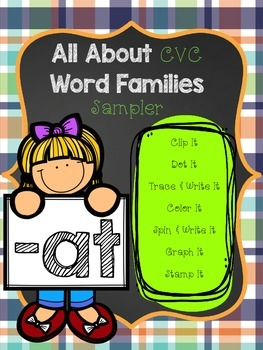 All About CVC Word Families -AT SAMPLER