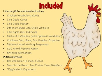 All About Chickens! {Literacy & Math}