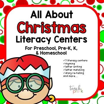 All About Christmas Literacy centers for Preschool, PreK, K, & Homeschool