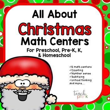 All About Christmas Math Centers for Preschool, PreK, K & Homeschool