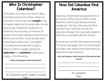 All About Christopher Columbus: An Informational Text Interactive Reader