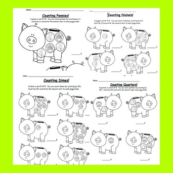 All About Coins: 9 Coin worksheets + Design Project, family letter, Center Game