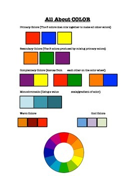 All About Color Visual Art Class Worksheet