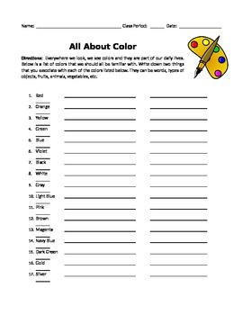 All About Color Worksheet_Warm-Up Activity