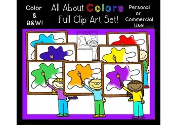 All About Colors Bundle! Clipart, Posters, Flashcards & Worksheets!