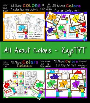 All About Colors Bundle! Clipart, Posters, Flashcards & Wo