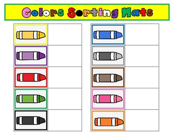 Colors Sorting Mats:  Kindergarten File Folder Fun