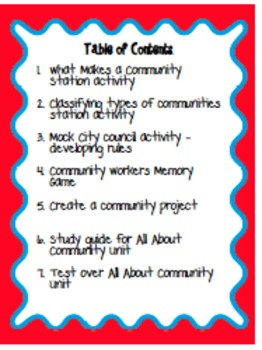 All About Communities including stations and powerpoint slides