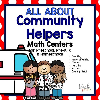 All About Community Helpers Math Centers for Pre-K, K, & Homeschool