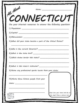 All About Connecticut - Fifty States Project Based Learning Worksheet