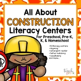 All About Construction Literacy Centers for Preschool, PreK, K, & Homeschool