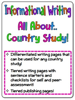 All About Country Study Differentiated Writing Pages!