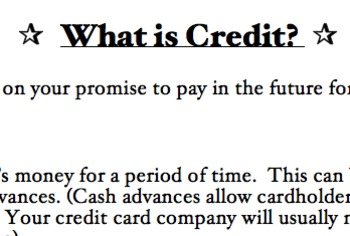 All About Credit (Notes, Activities, Review, Assessment, Project)