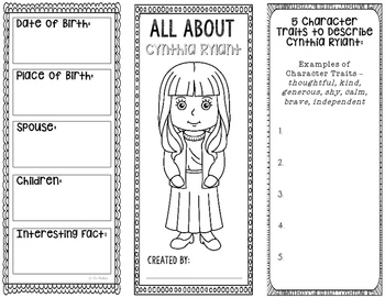 All About Cynthia Rylant - Biography Research Project - Interactive Notebook