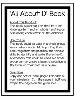 All About D | Alphabet Recognition Book