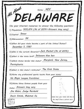 All About Delaware - Fifty States Project Based Learning Worksheet
