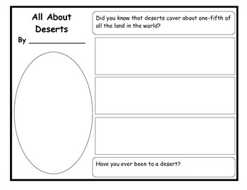 All About Deserts Writing Organizer