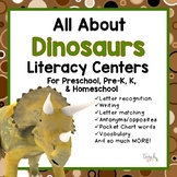 All About Dinosaurs Literacy centers for Preschool, PreK, K, & Homeschool