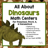 All About Dinosaurs Math Centers For Preschool, PreK, K, & Homeschool