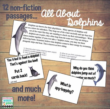 All About Dolphins {a non-fiction packet for reading & language comprehension}