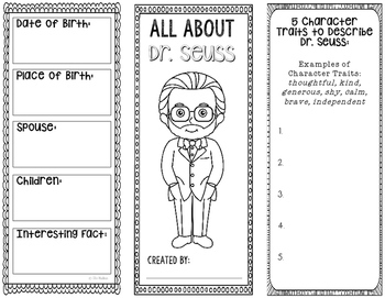 Delightful All About Dr. Seuss   Biography Research Project Template   Interactive  Notebook
