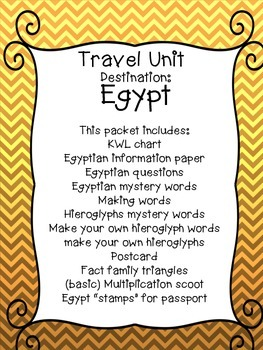 All About Egypt! Writing, math and more!