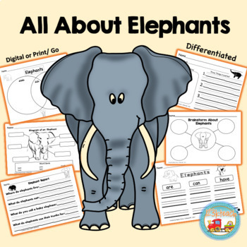 All About Elephants, Writing Prompts, Graphic Organizers, Diagram