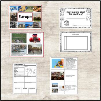 Introduction to Europe | Picture Cards | European Map | Country Research Forms