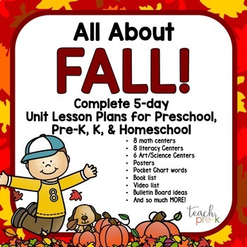 All About Fall!  5-Day Unit/Lesson Plans for Preschool Pre