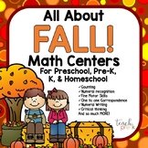 All About Fall!  Math Centers for Preschool, Pre-K, K, and Homeschool