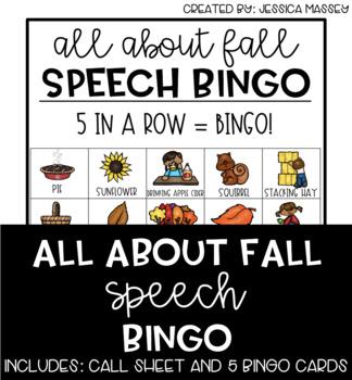 All About Fall / Thanksgiving Speech Bingo