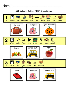 All About Fall: Wh Questions for Comprehension