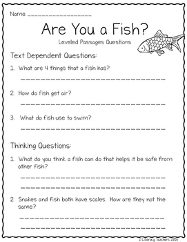 All About Fish: CCSS Aligned Leveled Reading Passages and Activities