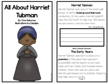All About Harriet Tubman  An Informational Text Interactive Reader
