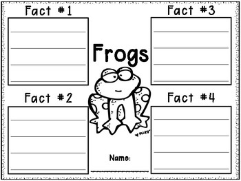 All About Frogs Informational Fact Writing Templates