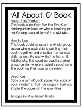 All About G | Alphabet Recognition Book